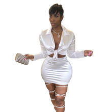 2020 Fashion Tie Front Women Bodycon Sexy Two Piece Set Club Party Evening Dress