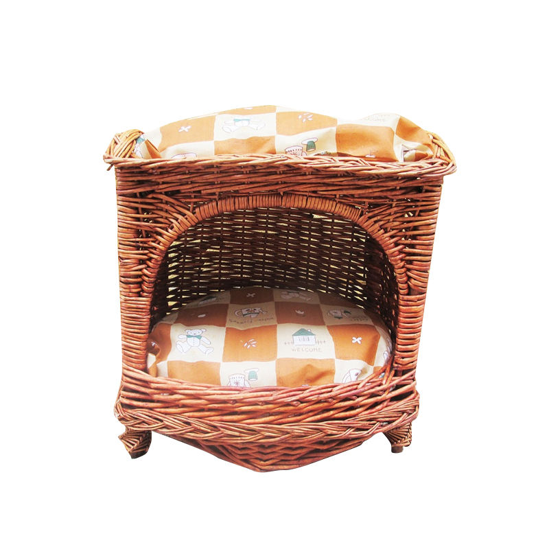 Customized and comfortable natural large handmade 2 layer wicker dog bed