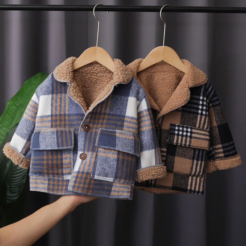 High quality winter baby boys thick plaid jacket coat kids warm clothes cotton boys coats for wholesales