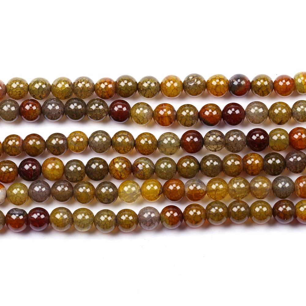4mm 6mm 8mm 10mm or 12 mm Natural Brown Dragon Veins Agate Stone Smooth Round Beads 15.5 inch Per strand