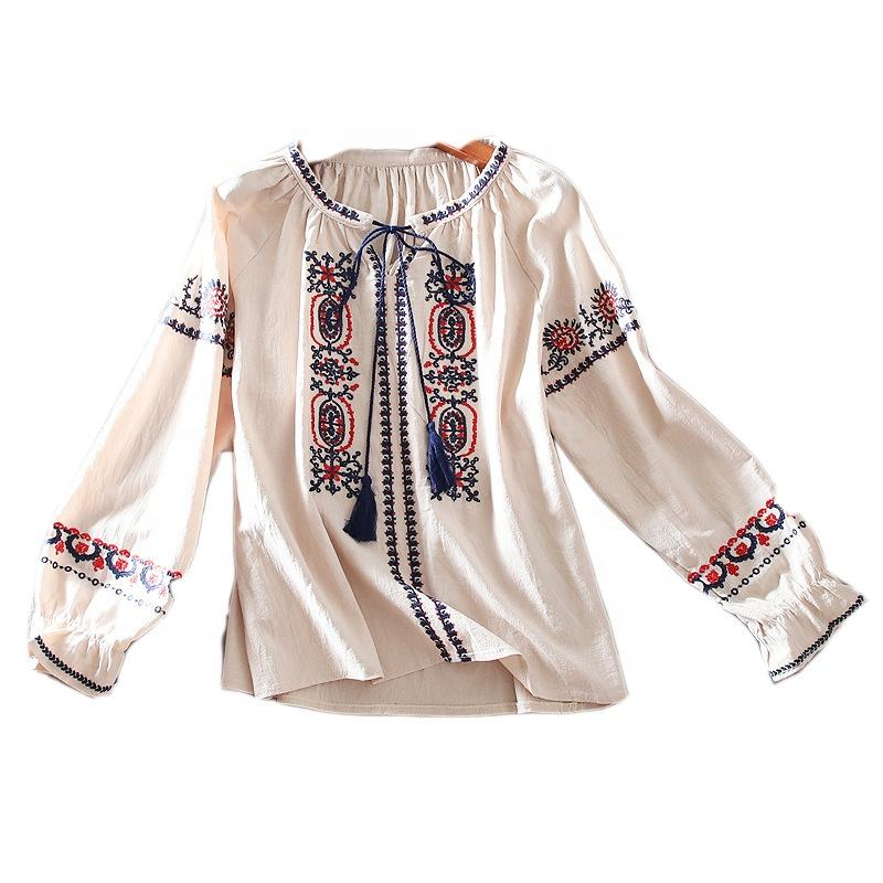 2021 OEM Service High Quality Cotton and linen blouse with three-quarter sleeves o-neck for women blouse