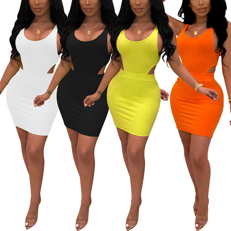 Solid Color Sleeveless Cut Out Summer Dresses Women Clothing Two Piece Set