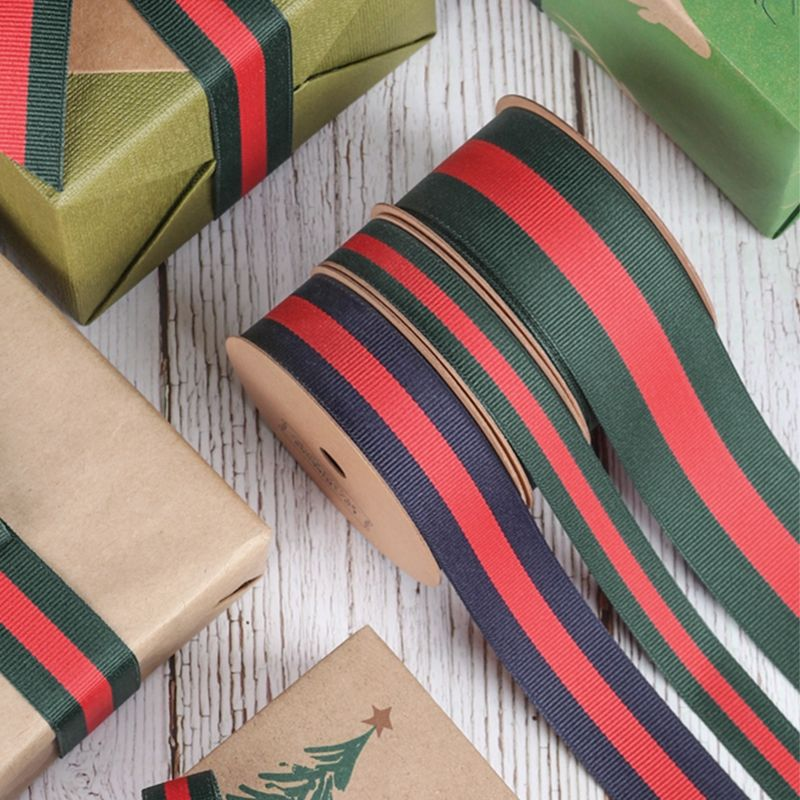 Christmas Wrapping Ribbon Red and Green Striped Grosgrain Ribbon