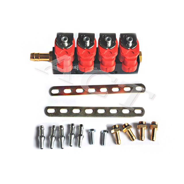 4 cylinders injector rail kit for CNG LPG gas car with 2/3 ohm conversion kit