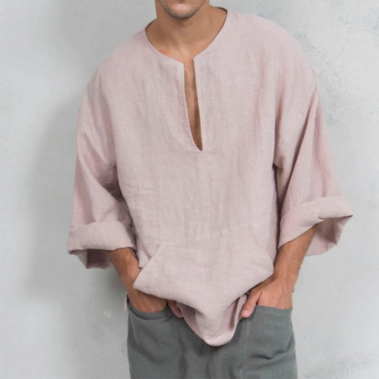 loose in the Middle East Europe and the United States men's clothing of male wish flax ethical wind horn long sleeve T-shir