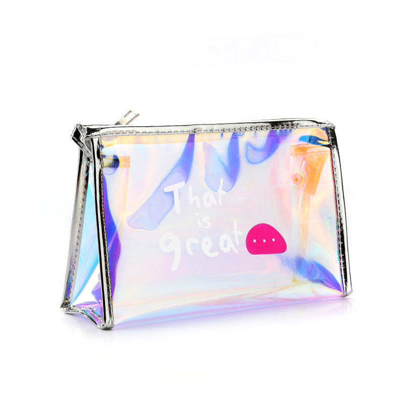 Waterproof Clear Pvc Holographic Cosmetic Makeup Bag