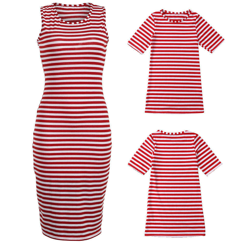 Summer Casual Stripes Short Sleeve Women Dresses 2pcs Parent-child Outfit Set
