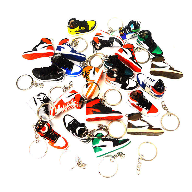 Hot selling air cases with mini 3D AJ sneaker keychain express drop shipping mini single shoe key ring