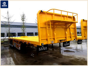 #OYJD newest design 40ft flatbed trailer with baffle use cement 20ft 40ft containers transport with 8 twist locks on sale