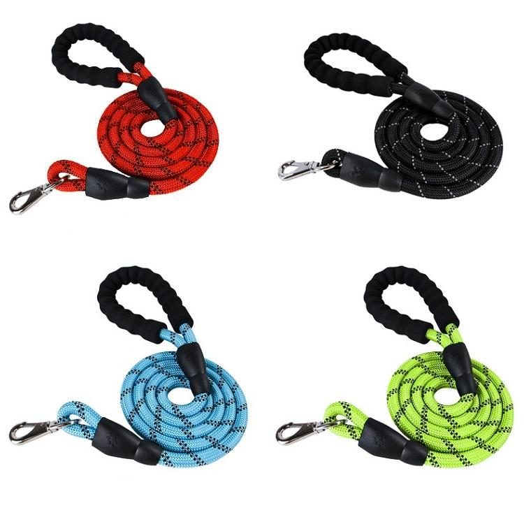Manufacturer wholesale various colors durable nylon reflective pet dog rope leash