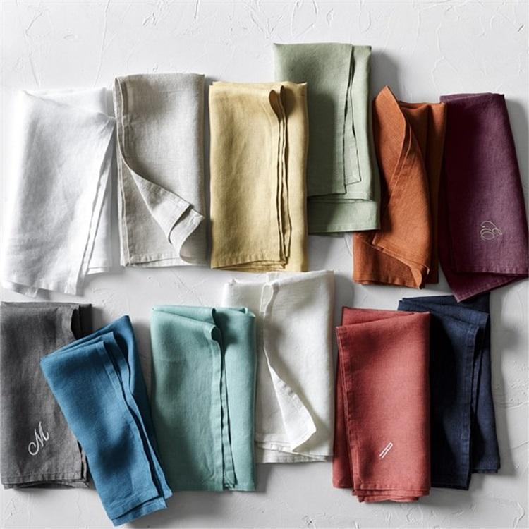 High Quality Stone Washed 100% Natural Color Flax linen Table Napkins/Cheap Flax Napkin