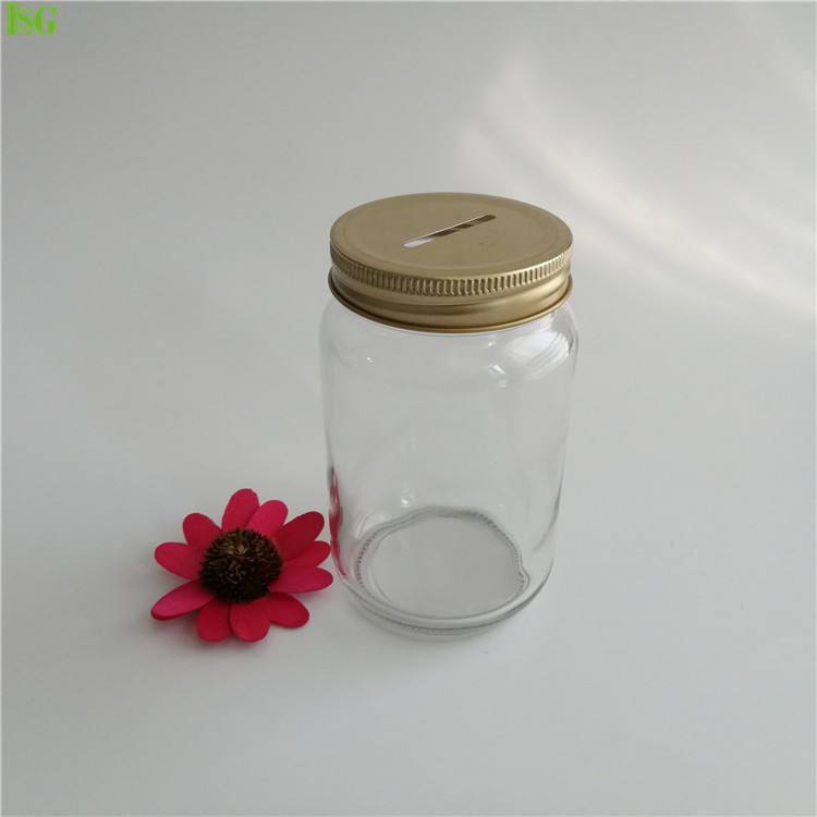 Manufacturer 16oz Smooth Side Clear Glass Mason Storage With Regular Metal Coin Bank Slot Lid