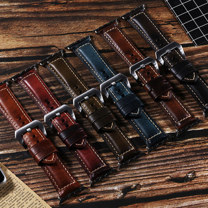 High Quality Genuine leather watch strap for apple watch band 6 5 4 3 2 1 38 40 42 44 mm