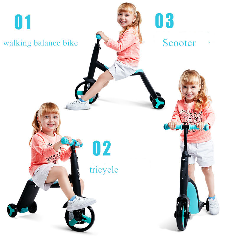 Wholesale multifunction kick foot scooter 2 IN 1 baby toys flashing PU wheel Kids Scooter for sale