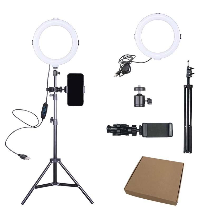 8 inch LED Ring Light with Tripod Stand Cell Phone Holder for Live Stream/Makeup/YouTube Video, Dimmable Beauty Ringlight