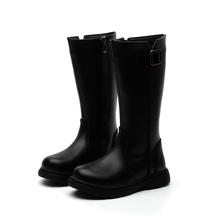 New Autumn And Winter children black leather high boot shoes wholesale girls non-slip zip fashion kids boots