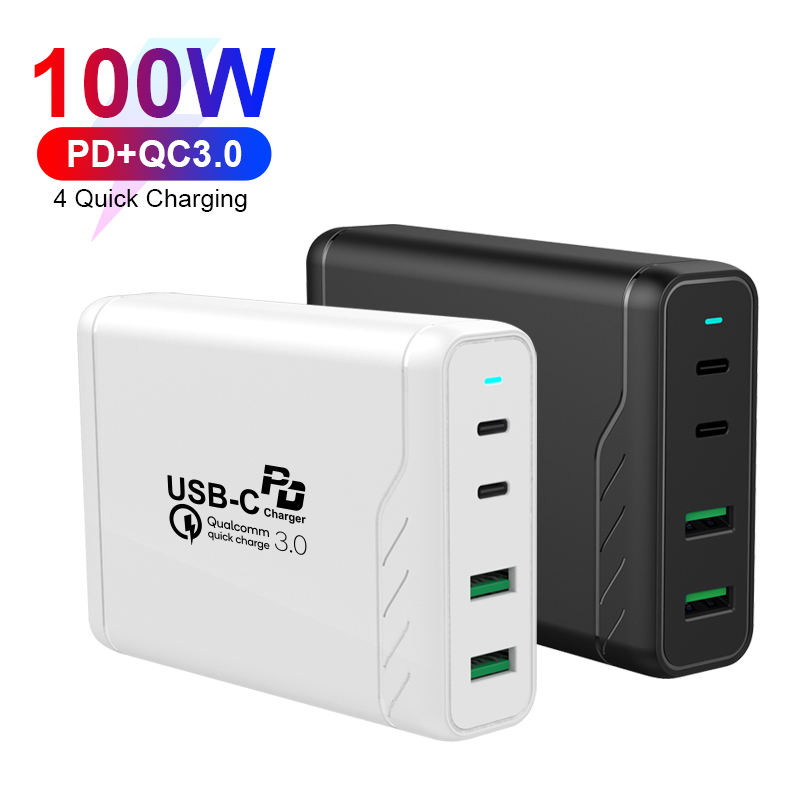 KC Certificate 100W High Power Multi Ports Small Size Cell Phone Charger For Macbook for iPad