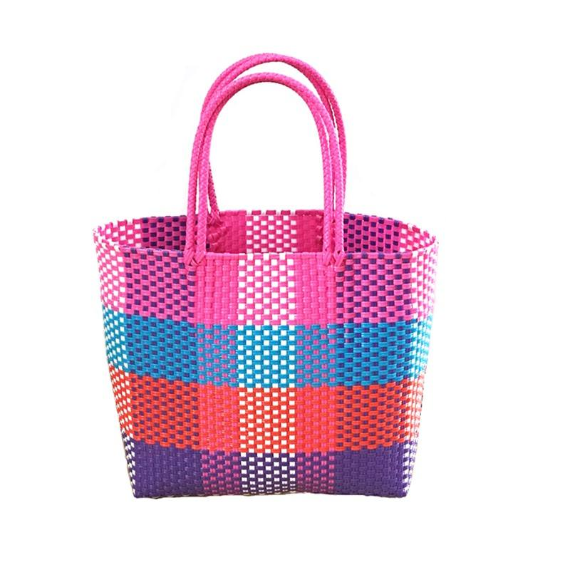 2020 wholesale handmade food or Fruit plastic woven pp bag weaving PP plastic beach basket bag