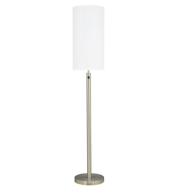 Simple Metal Floor Light Home Hotel Decor Design Guestroom Floor Standing Lamps with Fabric Shade