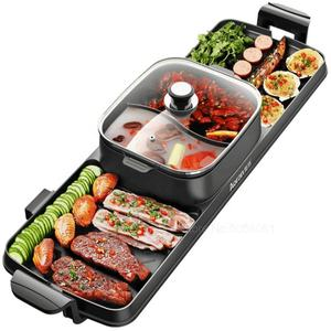 Household multi-function no smoking dual use electric bbq grill with hot pot