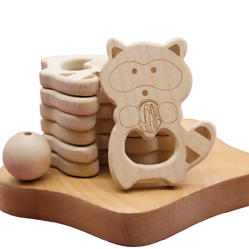 beech wood natural teething sensory baby toys ring dummy beads moose wooden teether