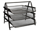 3-Trays Mesh Desk Organizer Desktop File Holder Office Supplies Letter Tray Desktop Storage Rack