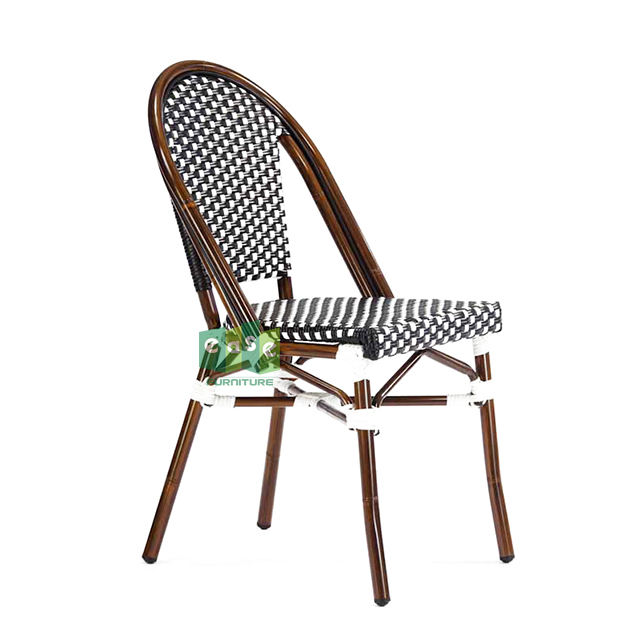 Aluminum bamboo paris bistro outdoor dining chair rattan  E200779 side