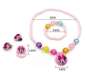 Custom kid jewelry set girl Jewelry Plastic bead Necklace Bracelet earrings clip ring Princess series four-piece suit