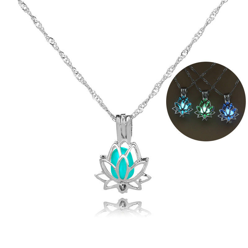 Glowing In The Dark Moon Lotus Flower Shaped Pendant Necklace For Women Yoga Prayer Buddhism Jewelry N209113