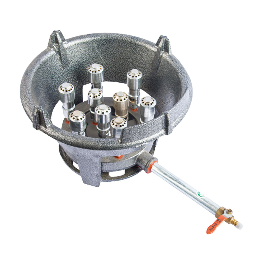 Wok Medium Pressure portable outdoor gas burner cast iron gas stove for natural gas 9 fire vents