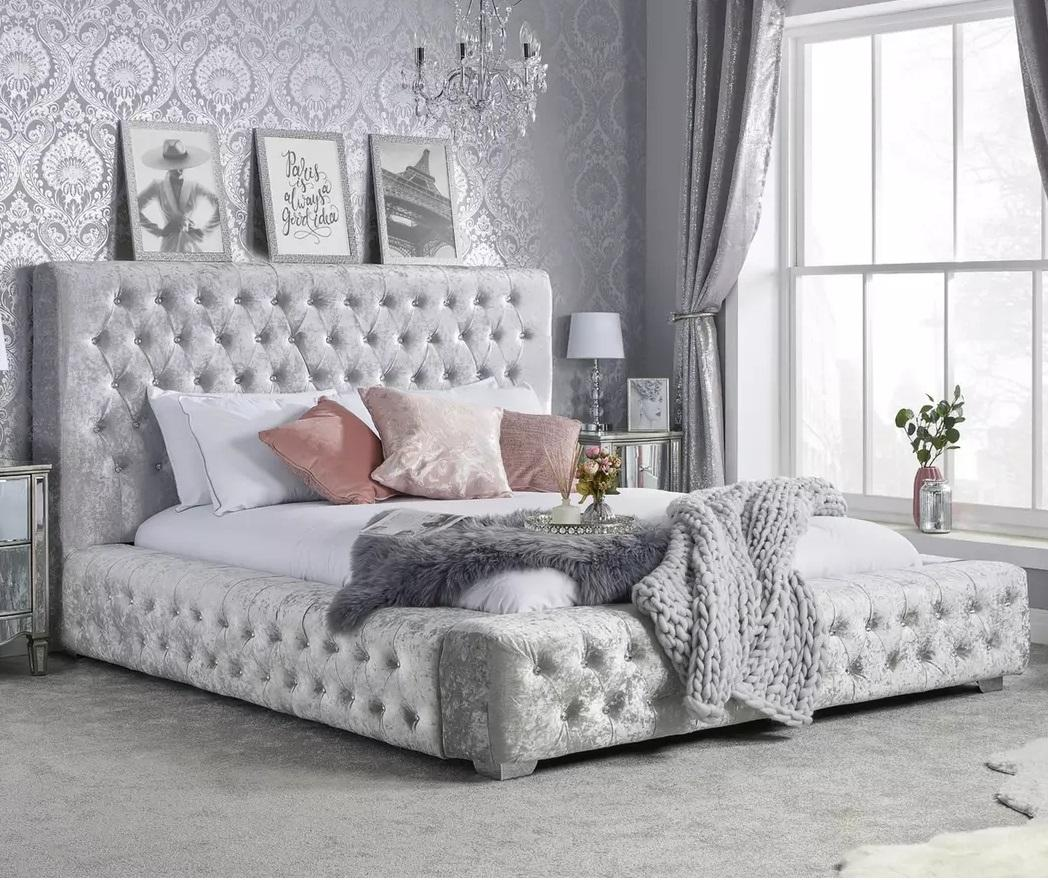 Headboard bed with crystal buttons crush velvet upholstered king size bed