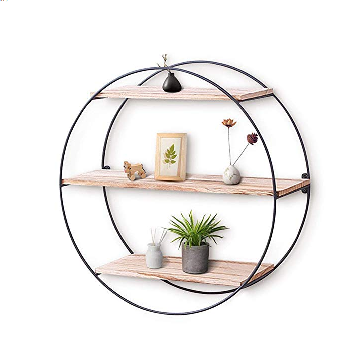New Product High Quality Luxury Metal Wall Hanging Shelf Simple Storage Rack 3-Tier Geometric Diamond Wall Decor Shelf