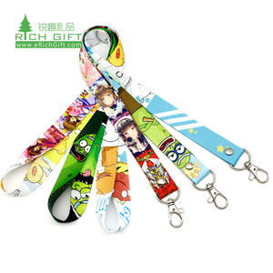 wholesale cheap custom cotton lanyard anime custom design lanyard printing strap custom 3d silicone polyester neck lanyard