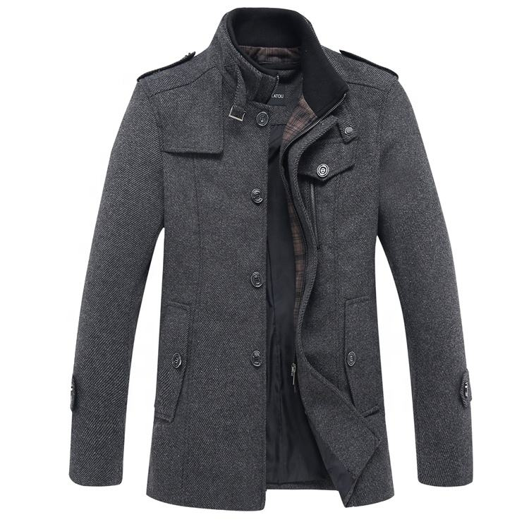 factory direct fashion thick overcoat winter wear jacket men woolen cloth coat