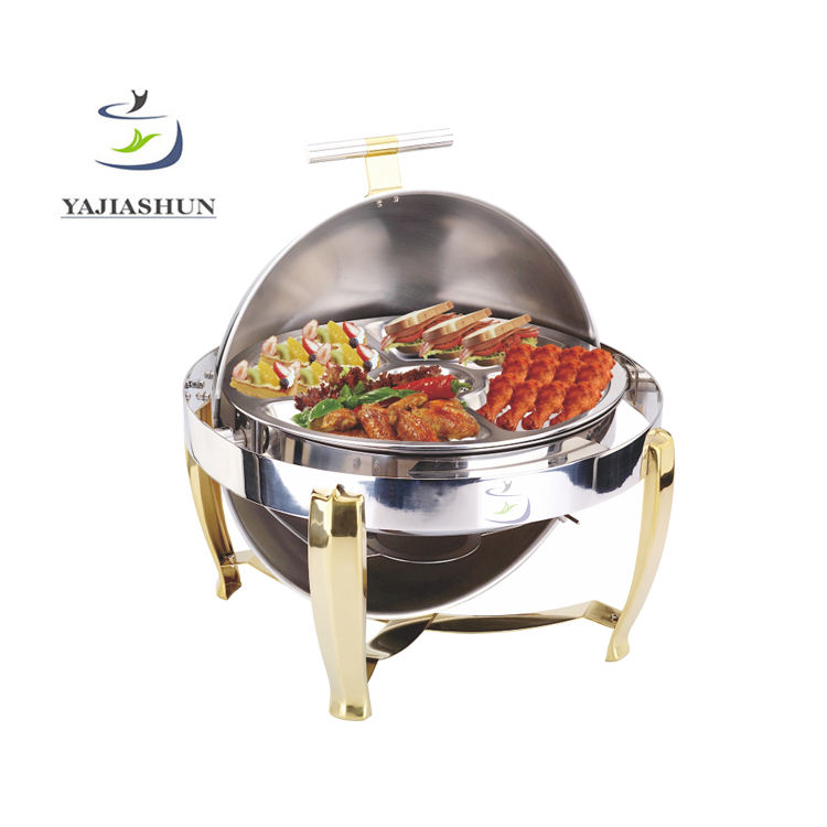 Stainless Steel fast food warmer chafing gel fuel with gold stackable stand