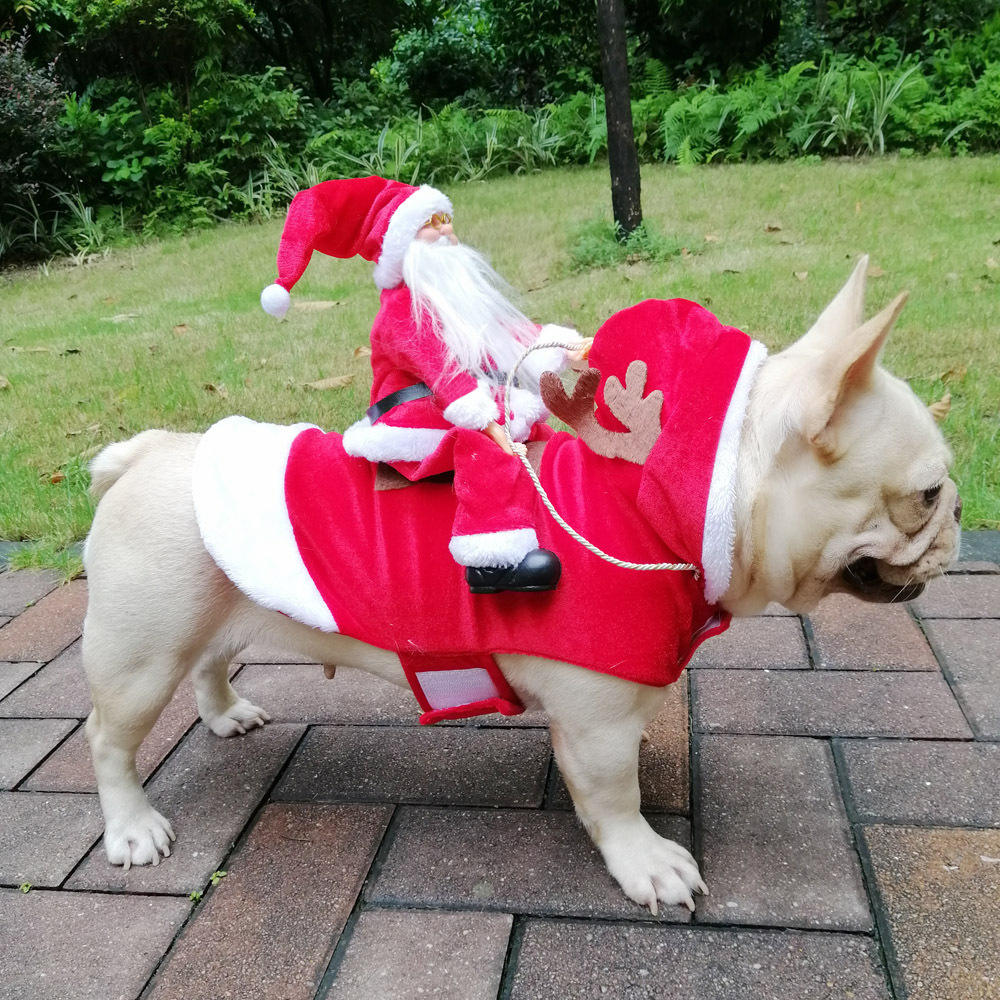Christmas Dog Clothes Santa Dog Costumes Holiday Party Dressing up Clothing for Small Medium Large Dogs Funny Pet Outfit Riding