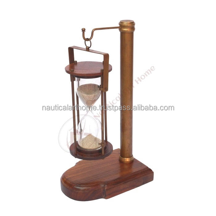 Hanging Sand Timer with Wooden Base - Brown Antique Nautical Sand Timer - 5 Minutes Sand Clock by Nautical Art Home - NAH11020