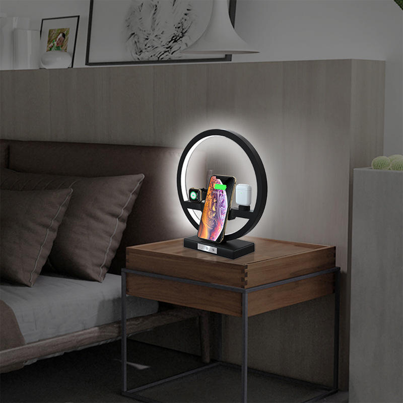 LED Table Desk Lamp with Wireless Fast Charger Eye Protection Sleeping Light 3 in 1 Cell Phone Charger Holder Stand