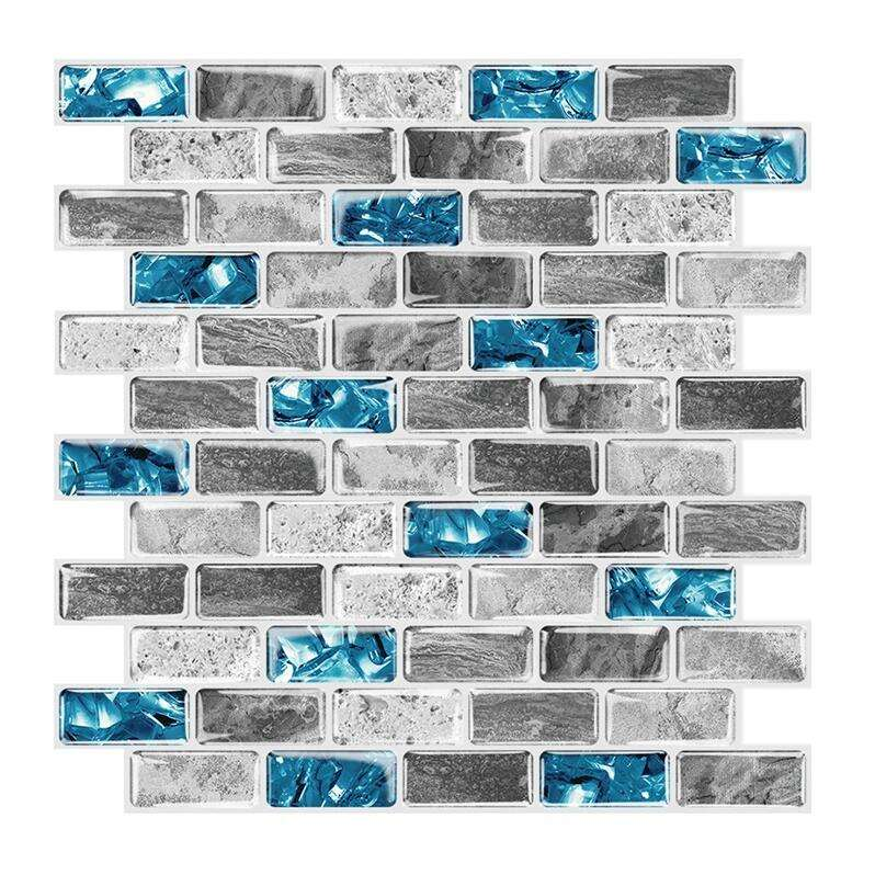 Mosaic Peel and Stick Wall Tile Blue Marble Self Adhesive Tile Sticker for Kitchen Backsplash Bathroom