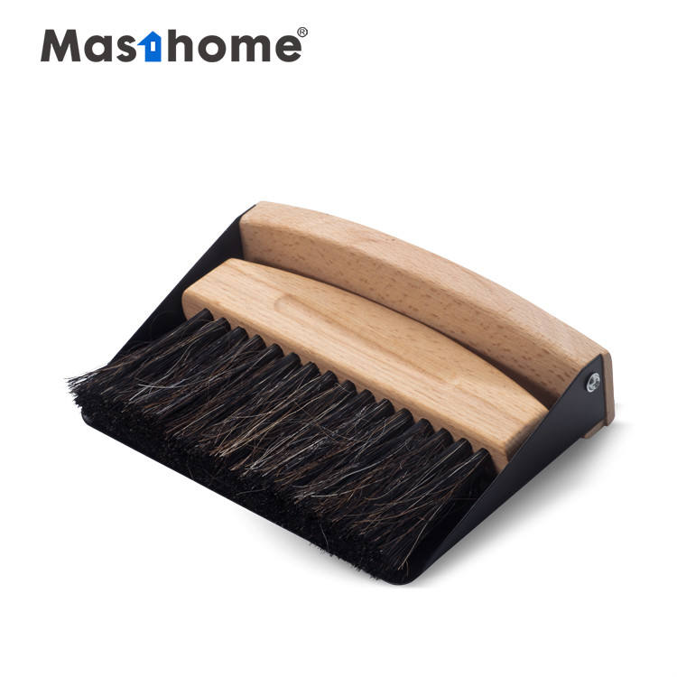 Masthome Pure Natural Wood eco Cleaning Brush and Metal small Dustpan Set Short Handle Table Brush
