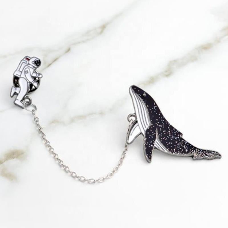 Promotional cute blue whale coat decoration metal enamel lapel pin badge with chain