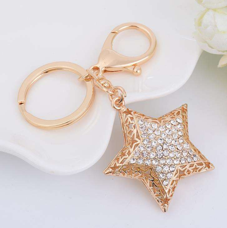 Gold plated Star key chains Fashion rhinestones key chain jewelry wholesale CH3901