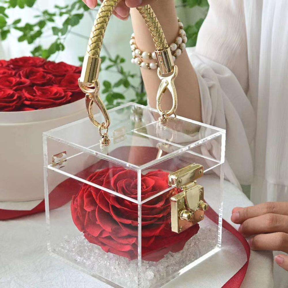 Valentine Forever Eternal Long Last heart Rose 12cm A grade Preserved Roses In Acrylic Box with portable box