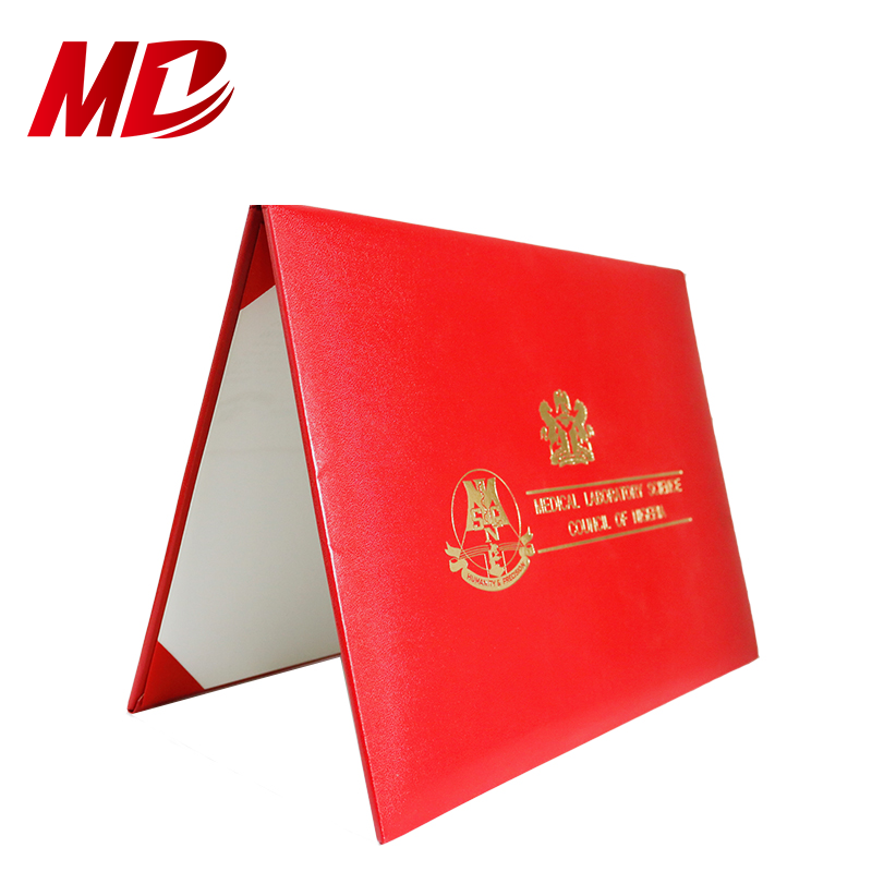 "Certificate Holder Smooth Leather Diploma Covers Cardboard Certificate Holders 8.5""x11"" With School LOGO"