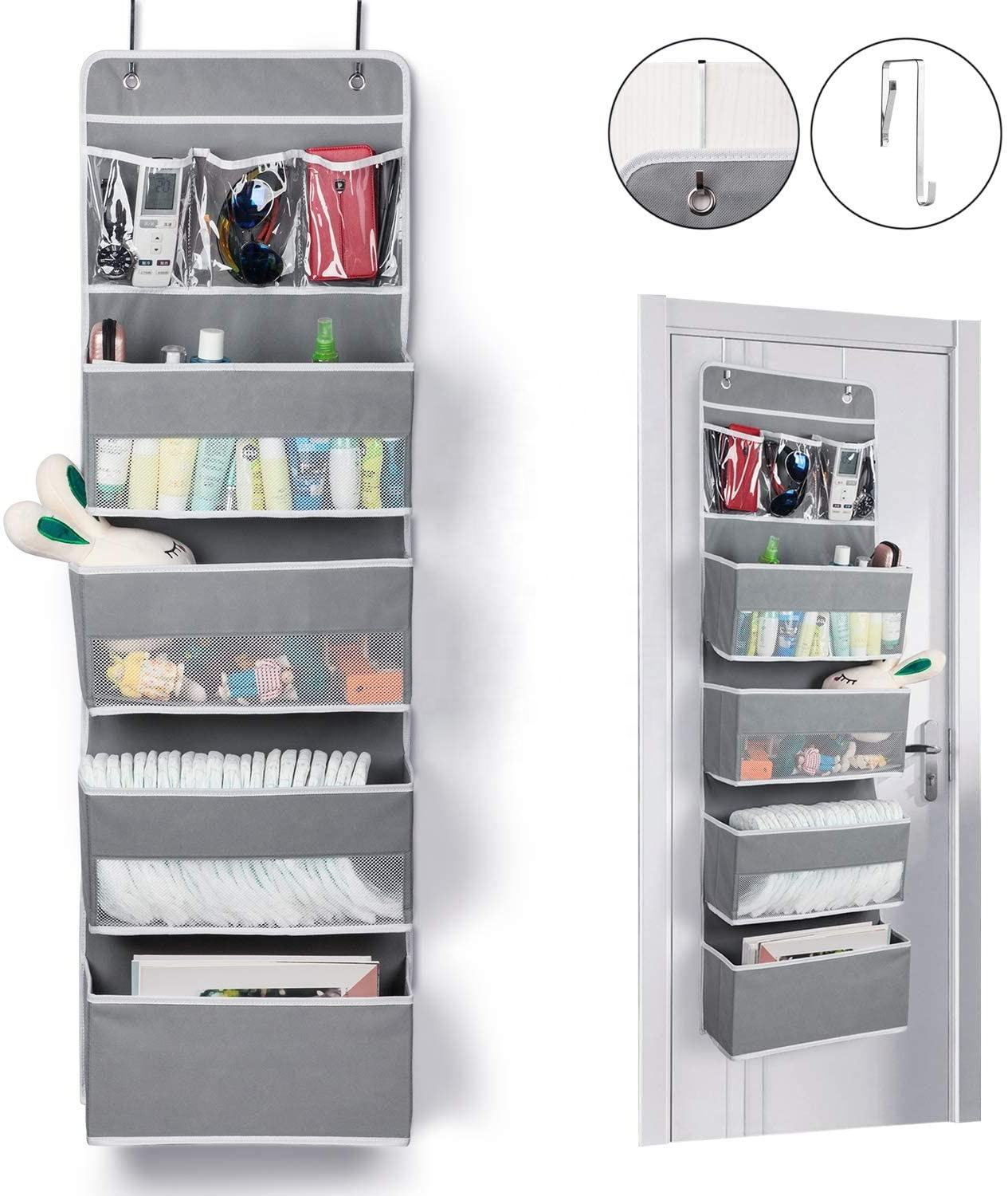 Door Hanging Organizer Closet Cabinet Baby Storage with 4 Large Pockets and 3 Small PVC Pockets for Cosmetics,Toys,Nursery