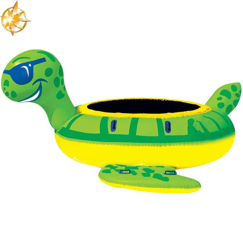 High quality cartoon turtle water float row toy jump inflatable trampoline