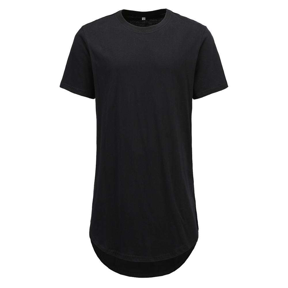 Custom Summer white street wear 100% cotton men tee fit long-lined t-shirts curved scallop split hem plain short sleeve T shirt