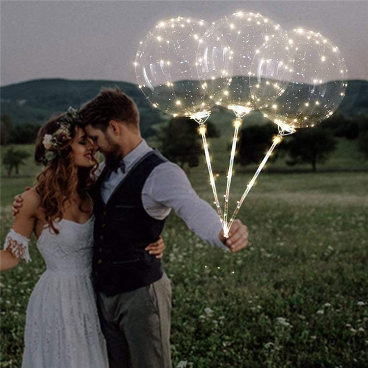 Groothandel light up Transparante Ronde Bubble Decoratie Verjaardag Bruiloft Decor luminousLed lucht Ballon