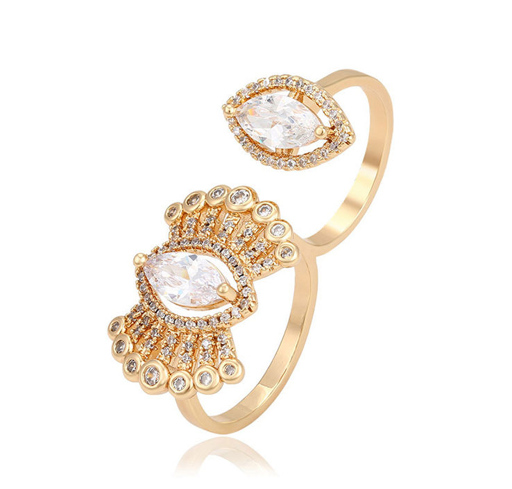 14886 Hot selling jewelry fashion style double circle finger ring eye shape ring for women