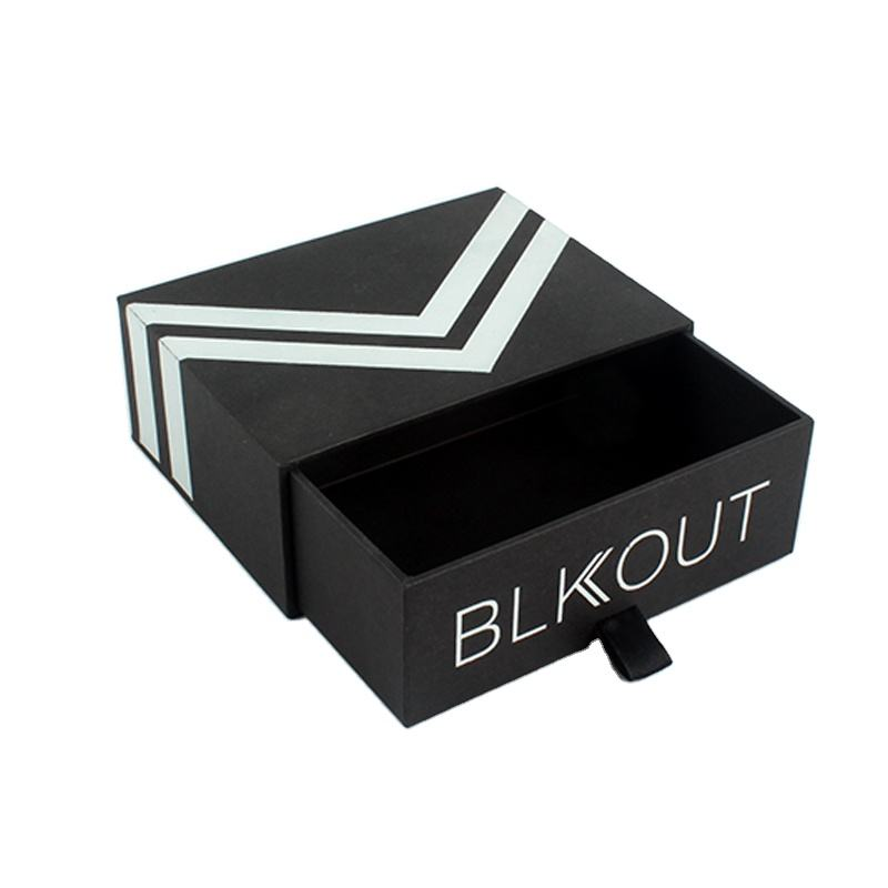 Custom Black Drawer Box Packaging Ribbon Tie Slide Drawer Paper Box with Ribbon